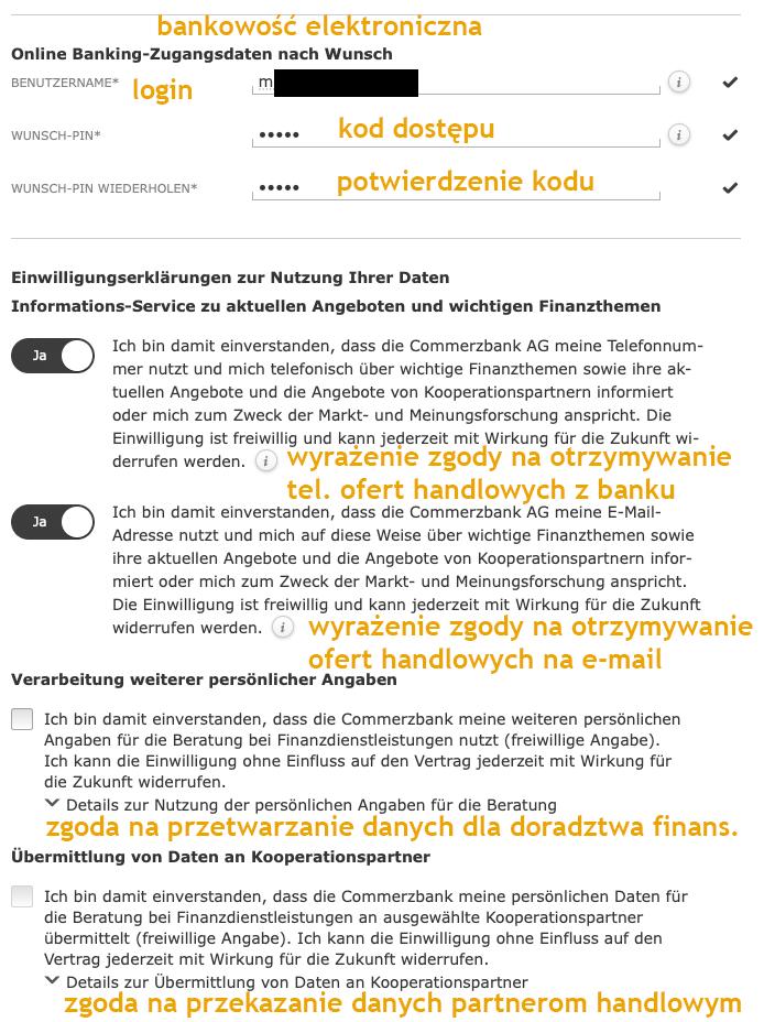 Commerzbank konto w Niemczech