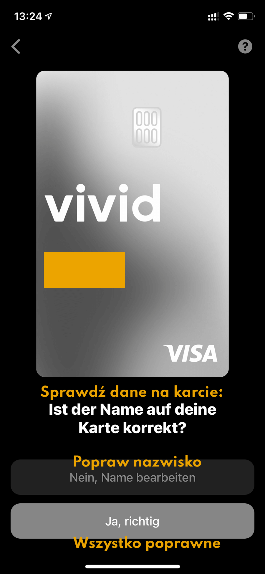 Karta Visa Vivid Money